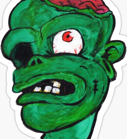 Halloween Green Zombie Brain Sticker