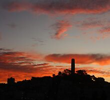 Flaming Coit Tower Sunrise by fototaker