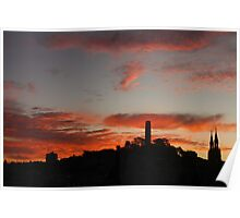 Flaming Coit Tower Sunrise Poster