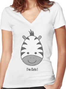 I'm Cute! Zedbra Women's Fitted V-Neck T-Shirt