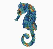 Blue Seahorse Art by Sharon Cummings Kids Tee