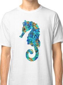 Blue Seahorse Art by Sharon Cummings Classic T-Shirt