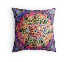 Found Objects Glass Textured Mandala Throw Pillow