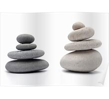 Two stacks of white and gray pebbles, studio shot Poster