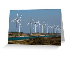 Row of wind turbines along canal, France, Camargue Greeting Card