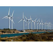 Row of wind turbines along canal, France, Camargue Photographic Print