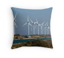 Row of wind turbines along canal, France, Camargue Throw Pillow