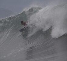 Surfer in Puerto Vallarta 2 - enjoying the high waves of the hurricane Jova - Disfrutando las olas altas del huracan Jova by Bernhard Matejka
