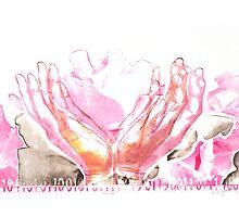 mercy flower hands in bloom binary code litho print by Veera Pfaffli