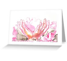 mercy flower hands in bloom binary code litho print Greeting Card