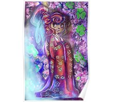 Clovers and Cherry Blossoms Geisha Poster