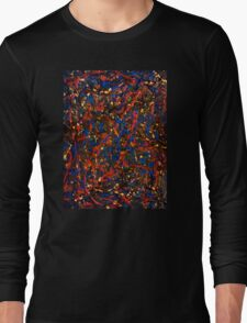 Abstract #10 Chaos in Red & Blue Long Sleeve T-Shirt