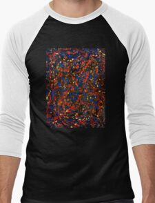 Abstract #10 Chaos in Red & Blue Men's Baseball ¾ T-Shirt
