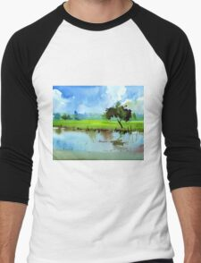 Sky N Farmland Men's Baseball ¾ T-Shirt