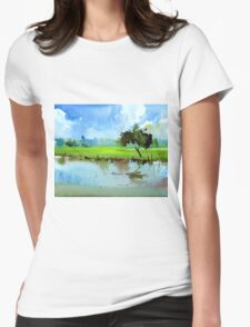 Sky N Farmland Womens Fitted T-Shirt