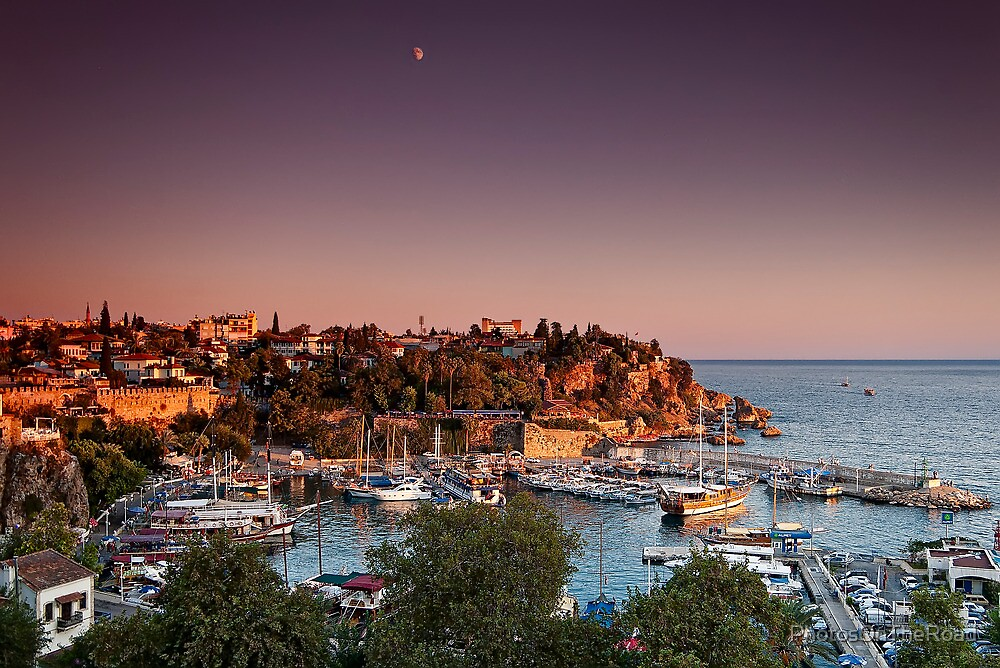 Sunset over Kaleici with moon by PhotosOnTheRoad