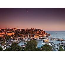 Sunset over Kaleici with moon Photographic Print