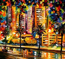 THE NIGHT LIGHTS OF MIAMI - LEONID AFREMOV by Leonid  Afremov