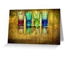 Four Vodka Glasses Greeting Card