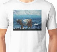Belted Galloway Cow Stormy Cloudy Sky Unisex T-Shirt