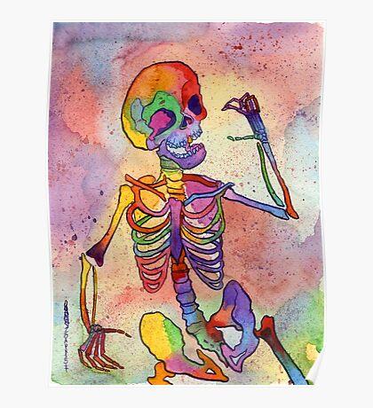 Rainbow Skeleton Poster