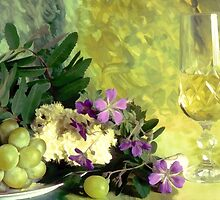 A glass of white wine by Ingvar Bjork Photography
