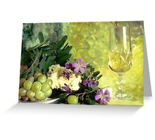 A glass of white wine Greeting Card
