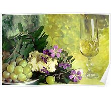 A glass of white wine Poster