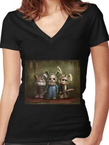 Horror Bunnies Women's Fitted V-Neck T-Shirt