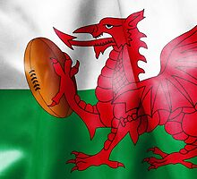 Welsh Dragon Rugby Ball Flag by MarkUK97