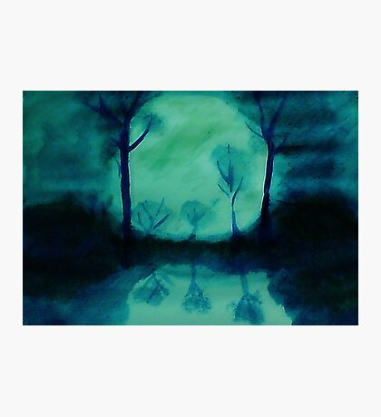 The Moons glow, watercolor Photographic Print