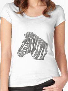 Zebra Zentangle Women's Fitted Scoop T-Shirt