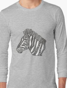 Zebra Zentangle Long Sleeve T-Shirt