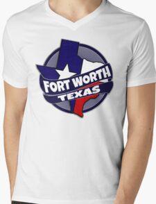 Fort Worth Texas flag burst Mens V-Neck T-Shirt