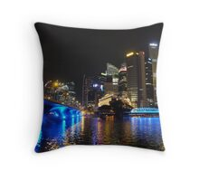 singapore river night scene Throw Pillow
