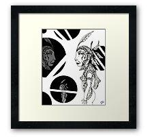 Pen Drawing Monotone image Framed Print