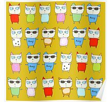 The Meow Cat Family - Yellow Poster