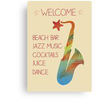 Beach bar jazz poster Canvas Print