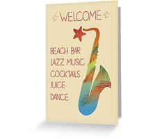 Beach bar jazz poster Greeting Card