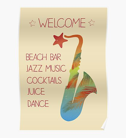 Beach bar jazz poster Poster