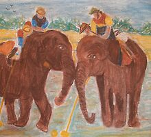 Elephant Polo Match by GEORGE SANDERSON