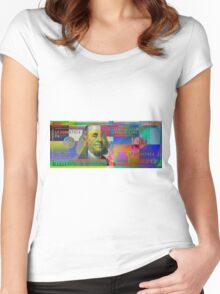 Pop-Art Colorized One Hundred US Dollar Bill Women's Fitted Scoop T-Shirt