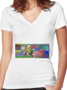 Pop-Art Colorized One Hundred US Dollar Bill Women's Fitted V-Neck T-Shirt