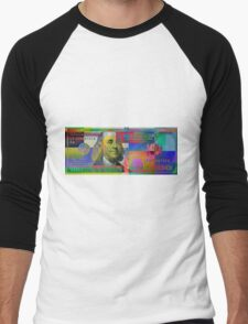 Pop-Art Colorized One Hundred US Dollar Bill Men's Baseball ¾ T-Shirt