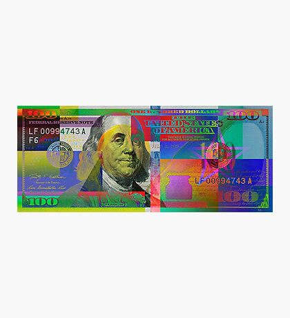 Pop-Art Colorized One Hundred US Dollar Bill Photographic Print