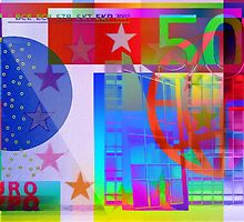 Pop-Art Colorized Five Hundred Euro Bill by Serge Averbukh