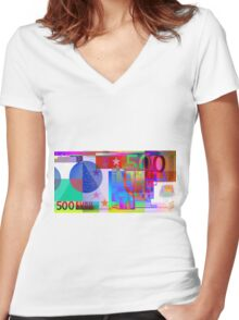 Pop-Art Colorized Five Hundred Euro Bill Women's Fitted V-Neck T-Shirt