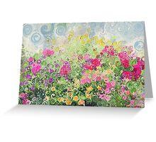 Dreamy Confetti Flower Basket Bouquet Greeting Card