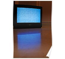 Television displaying static reflected on floor Poster