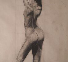 gesture 4 charcoal drawing  by Kenneth Hildreth